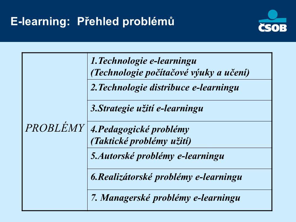 E-learning: Přehled problémů PROBLÉMY 1.Technologie e-learningu (Technologie počítačové výuky a učení) 2.Technologie distribuce e-learningu 3.Strategie užití e-learningu 4.Pedagogické problémy (Taktické problémy užití) 5.Autorské problémy e-learningu 6.Realizátorské problémy e-learningu 7.