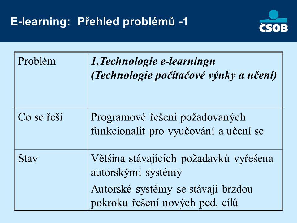 E-learning: Přehled problémů -1 Problém1.Technologie e-learningu (Technologie počítačové výuky a učení) Co se řešíProgramové řešení požadovaných funkcionalit pro vyučování a učení se StavVětšina stávajících požadavků vyřešena autorskými systémy Autorské systémy se stávají brzdou pokroku řešení nových ped.
