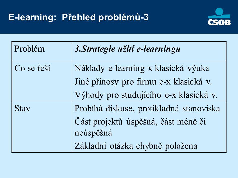 E-learning: Přehled problémů-3 Problém3.Strategie užití e-learningu Co se řešíNáklady e-learning x klasická výuka Jiné přínosy pro firmu e-x klasická v.