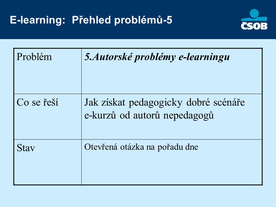 E-learning: Přehled problémů-5 Problém5.Autorské problémy e-learningu Co se řešíJak získat pedagogicky dobré scénáře e-kurzů od autorů nepedagogů Stav Otevřená otázka na pořadu dne