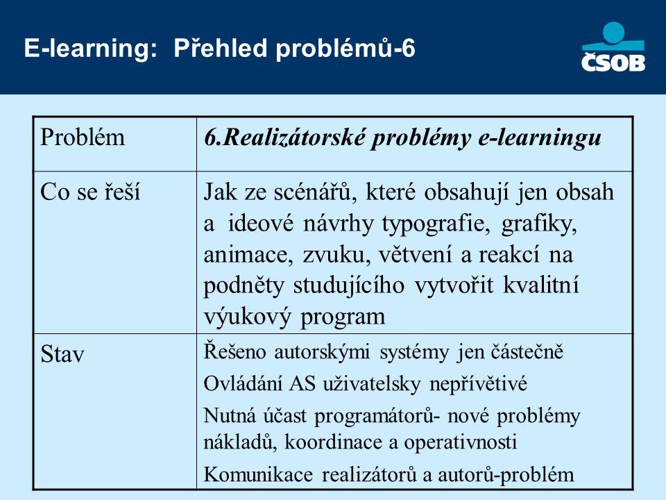 E-learning: Přehled problémů-6 Problém6.Realizátorské problémy e-learningu Co se řešíJak ze scénářů, které obsahují jen obsah a ideové návrhy typografie, grafiky, animace, zvuku, větvení a reakcí na podněty studujícího vytvořit kvalitní výukový program Stav Řešeno autorskými systémy jen částečně Ovládání AS uživatelsky nepřívětivé Nutná účast programátorů- nové problémy nákladů, koordinace a operativnosti Komunikace realizátorů a autorů-problém