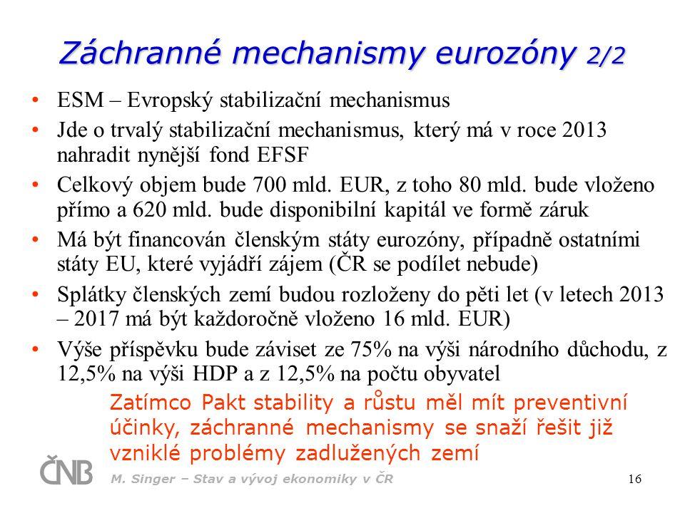 M. Singer – Stav a vývoj ekonomiky v ČR 16 Záchranné mechanismy eurozóny 2/2 ESM – Evropský stabilizační mechanismus Jde o trvalý stabilizační mechani