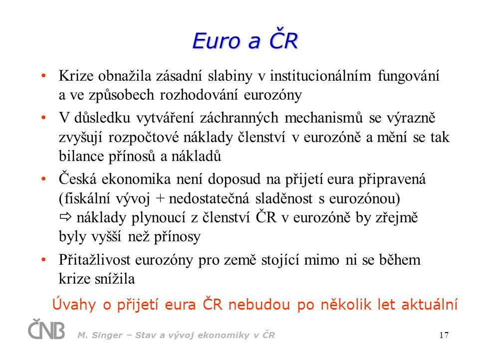 M. Singer – Stav a vývoj ekonomiky v ČR 18 Aktuální makroekonomický vývoj v ČR