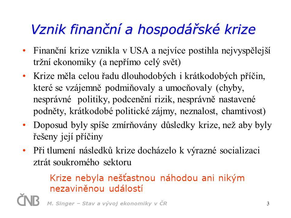 M. Singer – Stav a vývoj ekonomiky v ČR 3 Vznik finanční a hospodářské krize Finanční krize vznikla v USA a nejvíce postihla nejvyspělejší tržní ekono