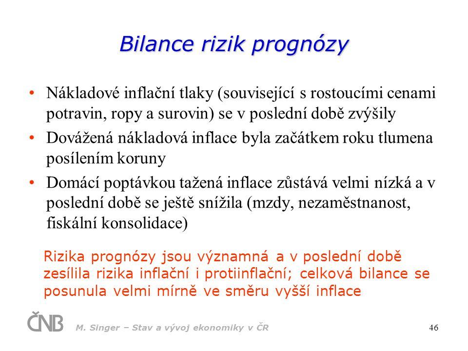M. Singer – Stav a vývoj ekonomiky v ČR 46 Bilance rizik prognózy Nákladové inflační tlaky (související s rostoucími cenami potravin, ropy a surovin)