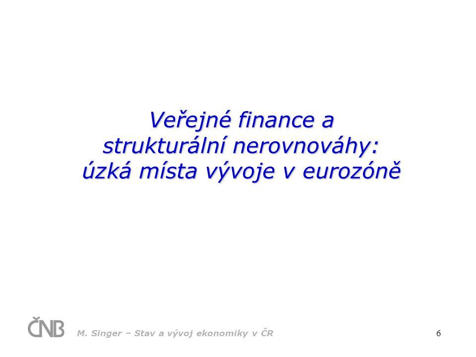 M. Singer – Stav a vývoj ekonomiky v ČR 6 Veřejné finance a strukturální nerovnováhy: úzká místa vývoje v eurozóně