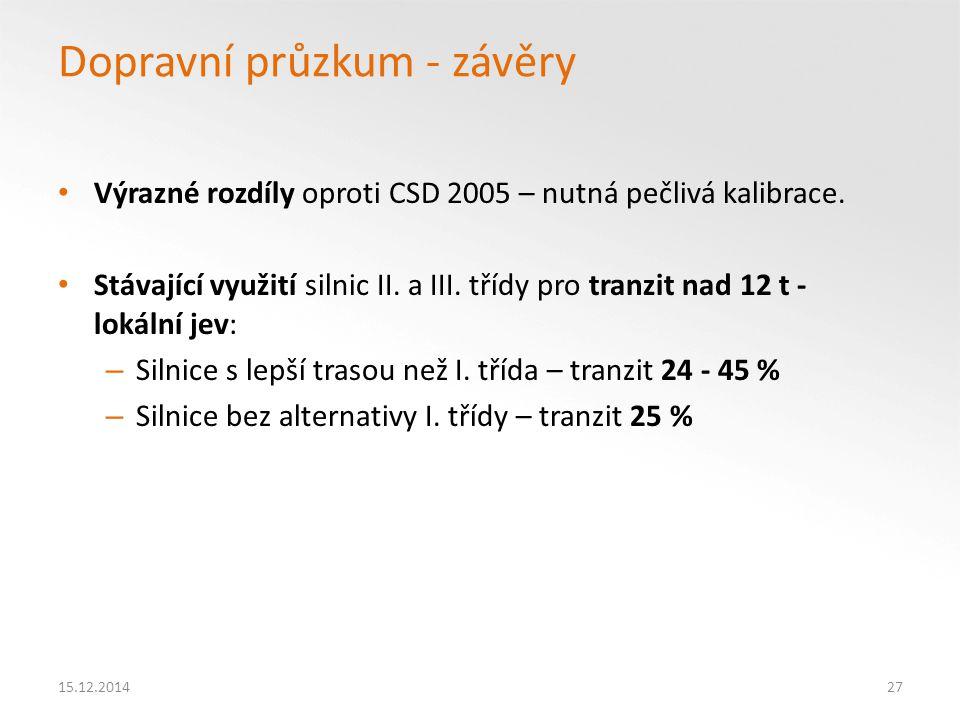 Dopravní průzkum - závěry Výrazné rozdíly oproti CSD 2005 – nutná pečlivá kalibrace.
