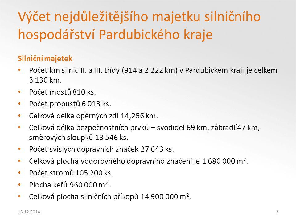 Finanční hodnocení Všechny relevantní finanční toky z pohledu kraje Cíl = vyrovnané finanční toky 3,5 – 12 tnad 12 t Maximální sazba mýta vypočtená dle stávající směrnice 1999/62/ES 1,71 Kč/km1,94 Kč/km Maximální sazba mýta vypočtená dle návrhu změny směrnice 1999/62/ES (včetně emisí) 3,60 Kč/km3,81 Kč/km 15.12.201434