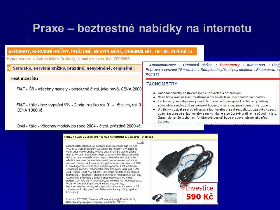 Praxe – beztrestné nabídky na internetu Investice 590 Kč