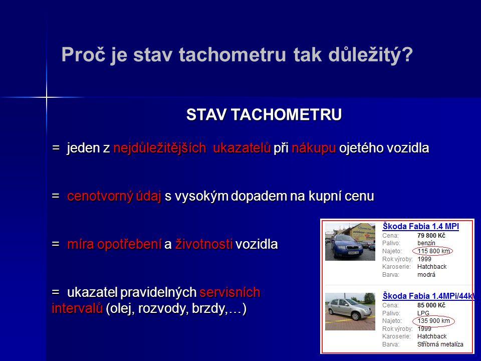 Proč je stav tachometru tak důležitý? STAV TACHOMETRU = jeden z nejdůležitějších ukazatelů při nákupu ojetého vozidla = cenotvorný údaj s vysokým dopa