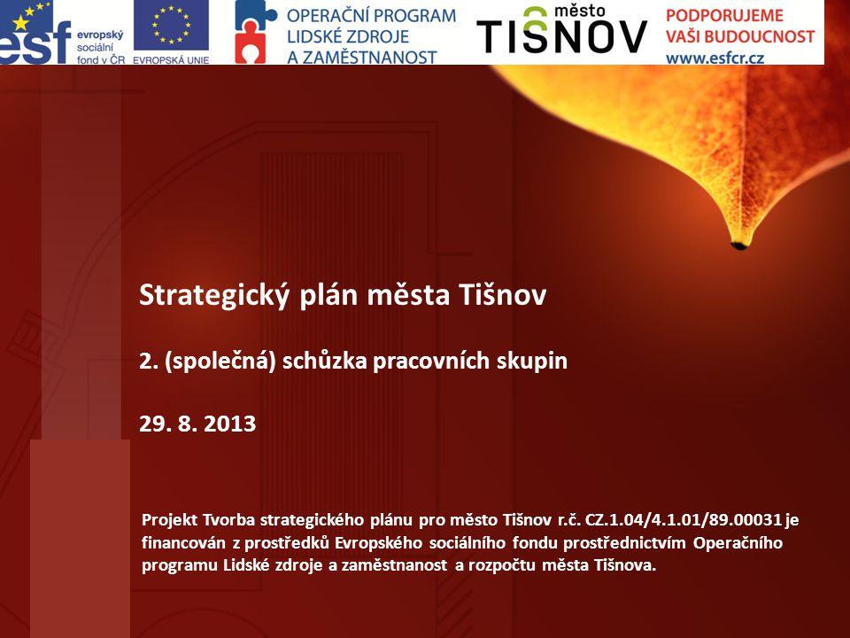 Strategický plán města Tišnov 2. (společná) schůzka pracovních skupin 29. 8. 2013 Projekt Tvorba strategického plánu pro město Tišnov r.č. CZ.1.04/4.1