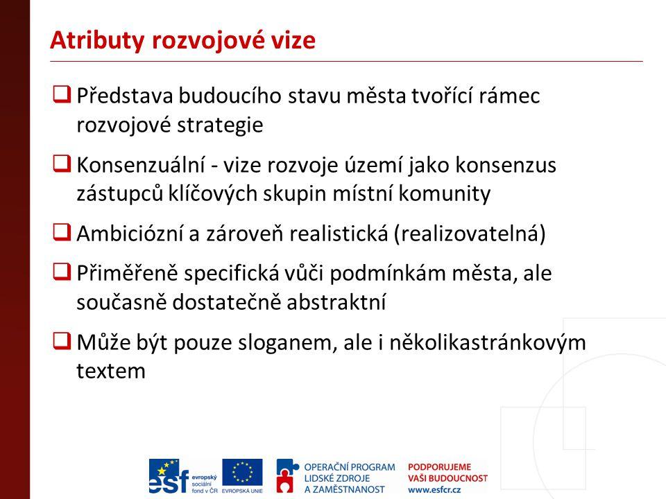 Atributy rozvojové vize  Představa budoucího stavu města tvořící rámec rozvojové strategie  Konsenzuální - vize rozvoje území jako konsenzus zástupc