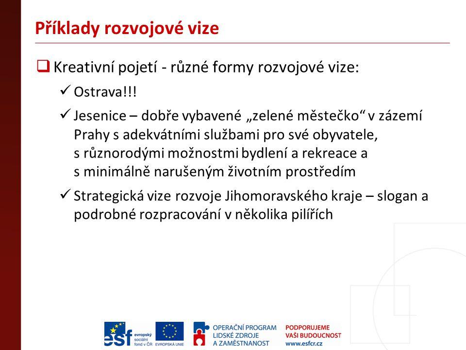 """Příklady rozvojové vize  Kreativní pojetí - různé formy rozvojové vize: Ostrava!!! Jesenice – dobře vybavené """"zelené městečko"""" v zázemí Prahy s adekv"""