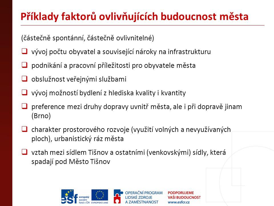 Příklady faktorů ovlivňujících budoucnost města (částečně spontánní, částečně ovlivnitelné)  vývoj počtu obyvatel a související nároky na infrastrukturu  podnikání a pracovní příležitosti pro obyvatele města  obslužnost veřejnými službami  vývoj možností bydlení z hlediska kvality i kvantity  preference mezi druhy dopravy uvnitř města, ale i při dopravě jinam (Brno)  charakter prostorového rozvoje (využití volných a nevyužívaných ploch), urbanistický ráz města  vztah mezi sídlem Tišnov a ostatními (venkovskými) sídly, která spadají pod Město Tišnov