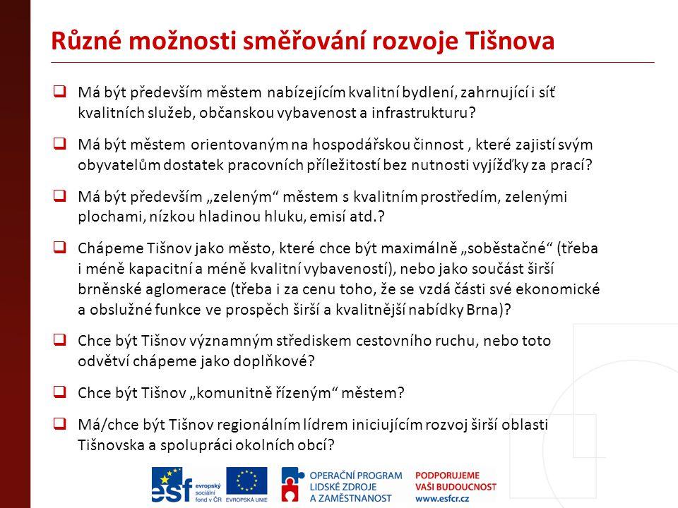 Různé možnosti směřování rozvoje Tišnova  Má být především městem nabízejícím kvalitní bydlení, zahrnující i síť kvalitních služeb, občanskou vybaven
