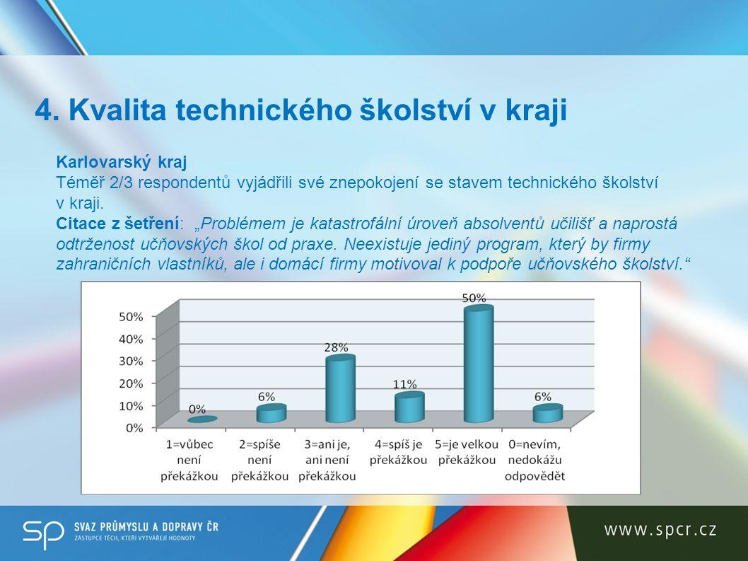 """Karlovarský kraj Téměř 2/3 respondentů vyjádřili své znepokojení se stavem technického školství v kraji. Citace z šetření: """"Problémem je katastrofální"""