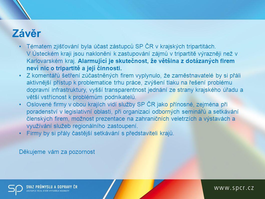 Tématem zjišťování byla účast zástupců SP ČR v krajských tripartitách. V Ústeckém kraji jsou nakloněni k zastupování zájmů v tripartitě výrazněji než