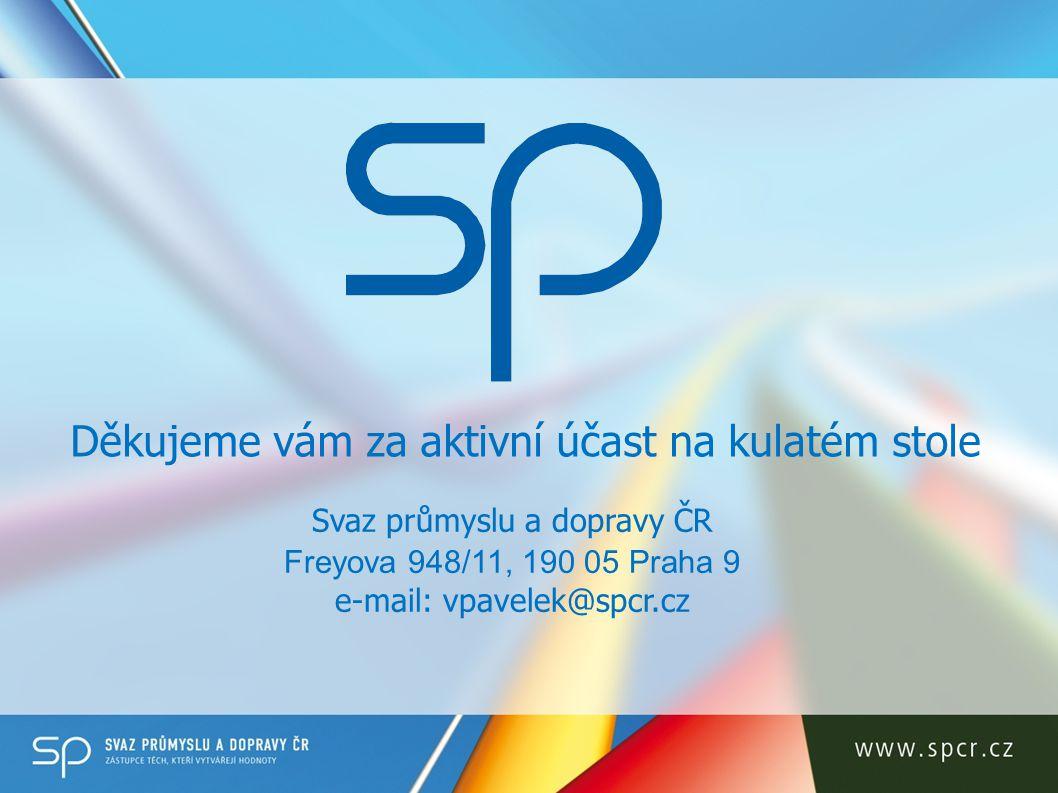 Svaz průmyslu a dopravy ČR Freyova 948/11, 190 05 Praha 9 e-mail: vpavelek@spcr.cz Děkujeme vám za aktivní účast na kulatém stole