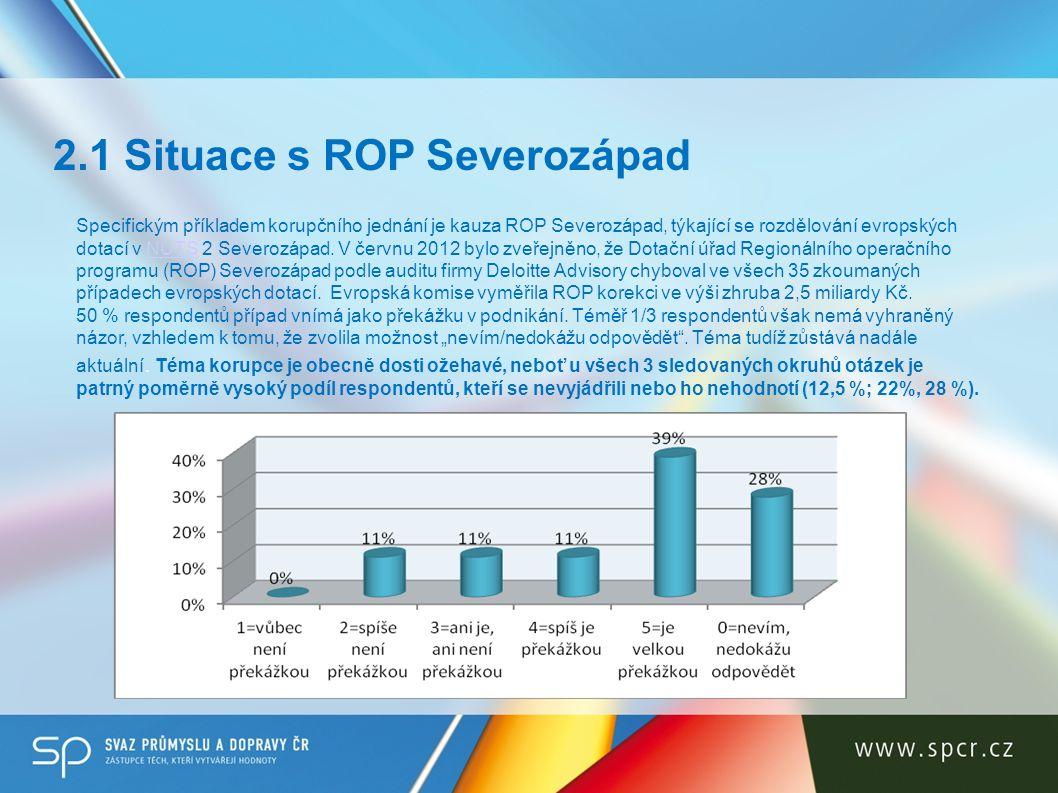Specifickým příkladem korupčního jednání je kauza ROP Severozápad, týkající se rozdělování evropských dotací v NUTS 2 Severozápad. V červnu 2012 bylo