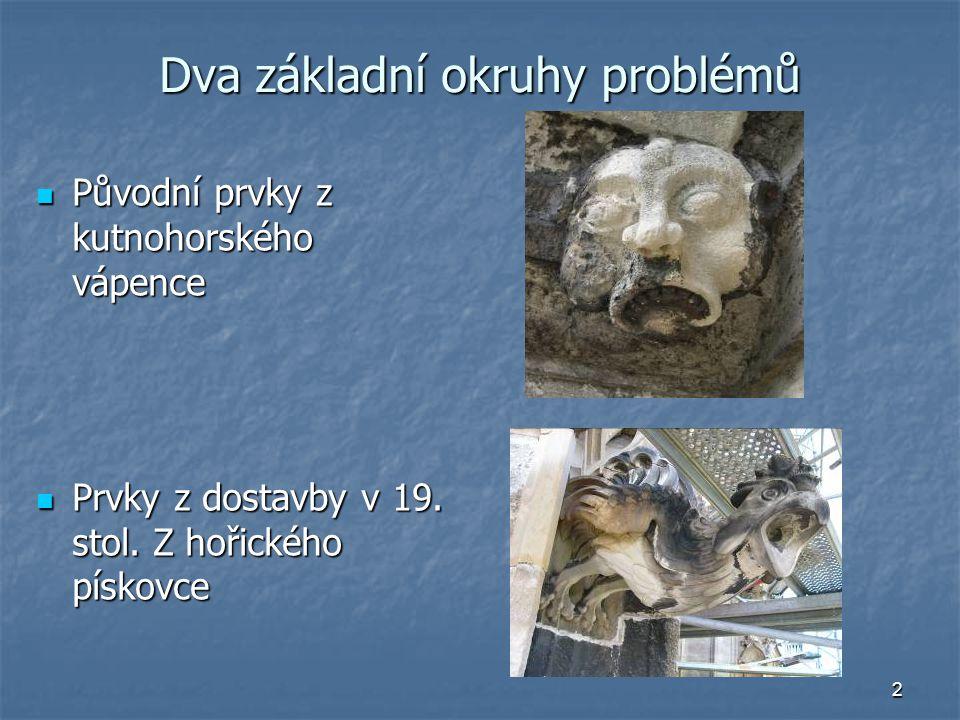 2 Dva základní okruhy problémů Původní prvky z kutnohorského vápence Původní prvky z kutnohorského vápence Prvky z dostavby v 19.