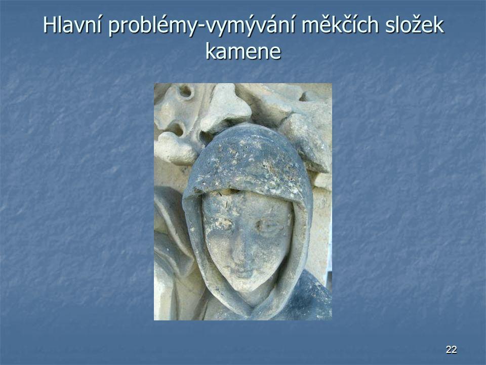 22 Hlavní problémy-vymývání měkčích složek kamene