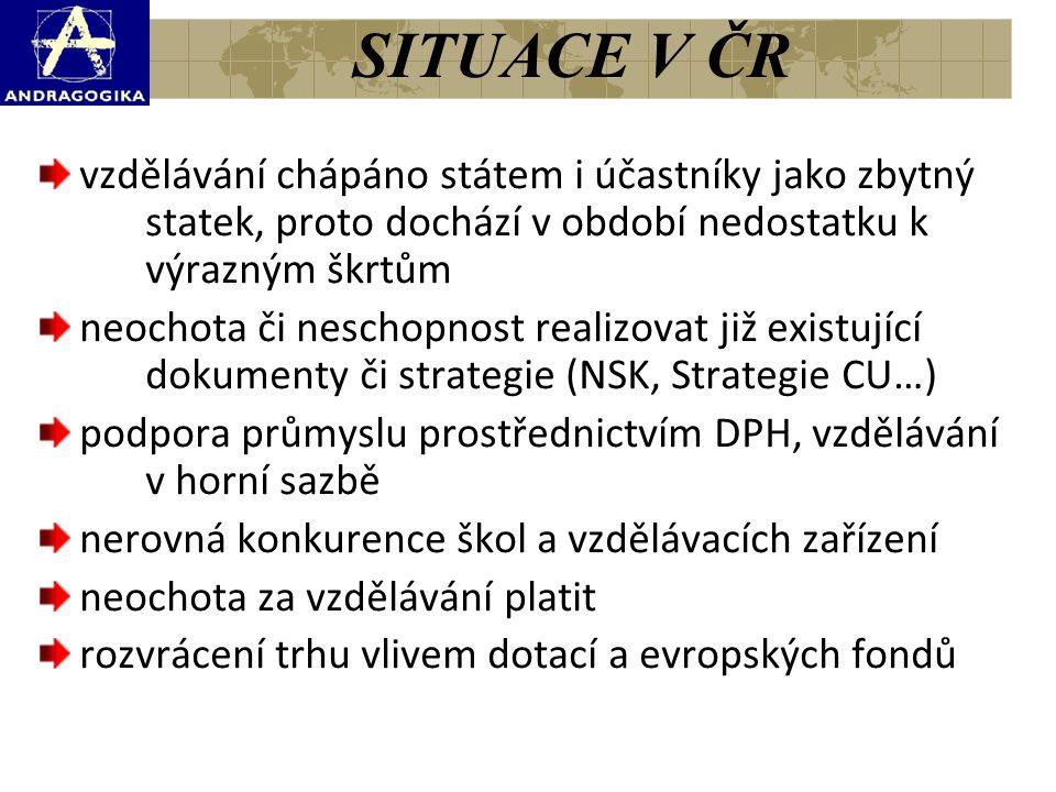 SITUACE V ČR vzdělávání chápáno státem i účastníky jako zbytný statek, proto dochází v období nedostatku k výrazným škrtům neochota či neschopnost rea