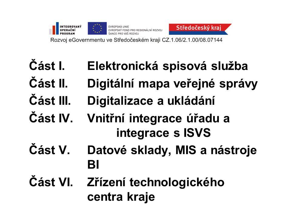 Část I. Elektronická spisová služba Část II. Digitální mapa veřejné správy Část III.