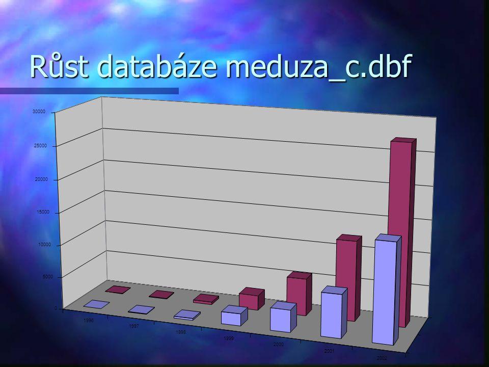Růst databáze meduza_c.dbf 1996 1997 1998 1999 2000 2001 2002 0 5000 10000 15000 20000 25000 30000