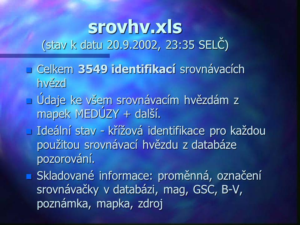 srovhv.xls (stav k datu 20.9.2002, 23:35 SELČ) n Celkem 3549 identifikací srovnávacích hvězd n Údaje ke všem srovnávacím hvězdám z mapek MEDÚZY + dalš
