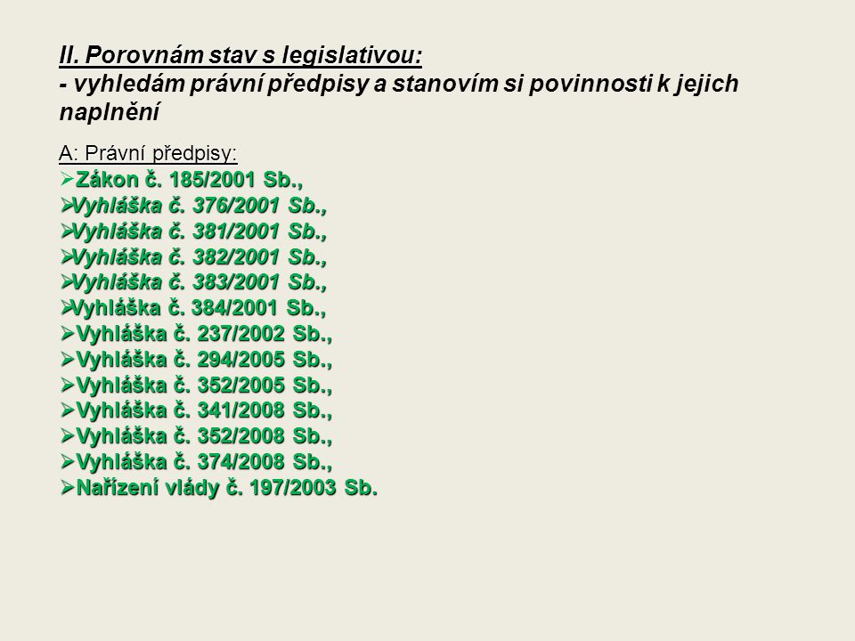 II. Porovnám stav s legislativou: - vyhledám právní předpisy a stanovím si povinnosti k jejich naplnění A: Právní předpisy: Zákon č. 185/2001 Sb.,  Z
