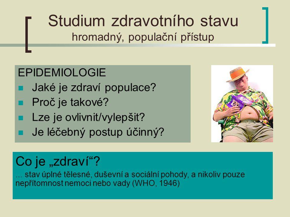 Studium zdravotního stavu hromadný, populační přístup EPIDEMIOLOGIE Jaké je zdraví populace.