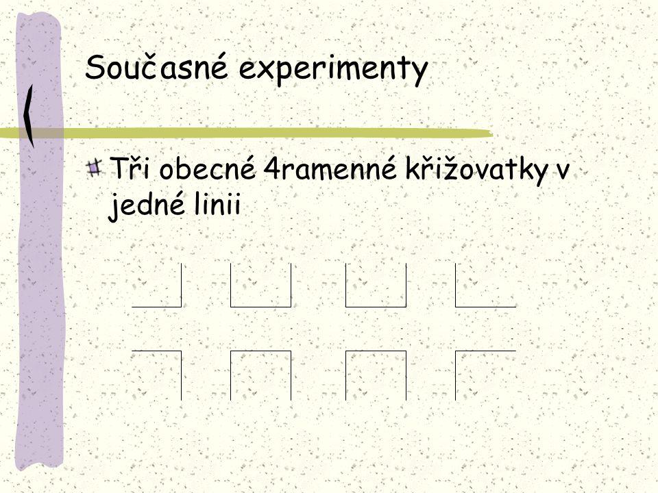 Současné experimenty Tři obecné 4ramenné křižovatky v jedné linii