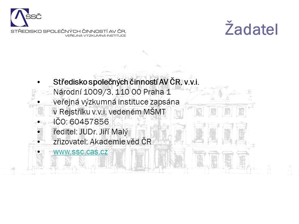 Žadatel Středisko společných činností AV ČR, v.v.i.