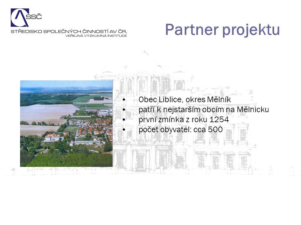 Partner projektu Obec Liblice, okres Mělník patří k nejstarším obcím na Mělnicku první zmínka z roku 1254 počet obyvatel: cca 500