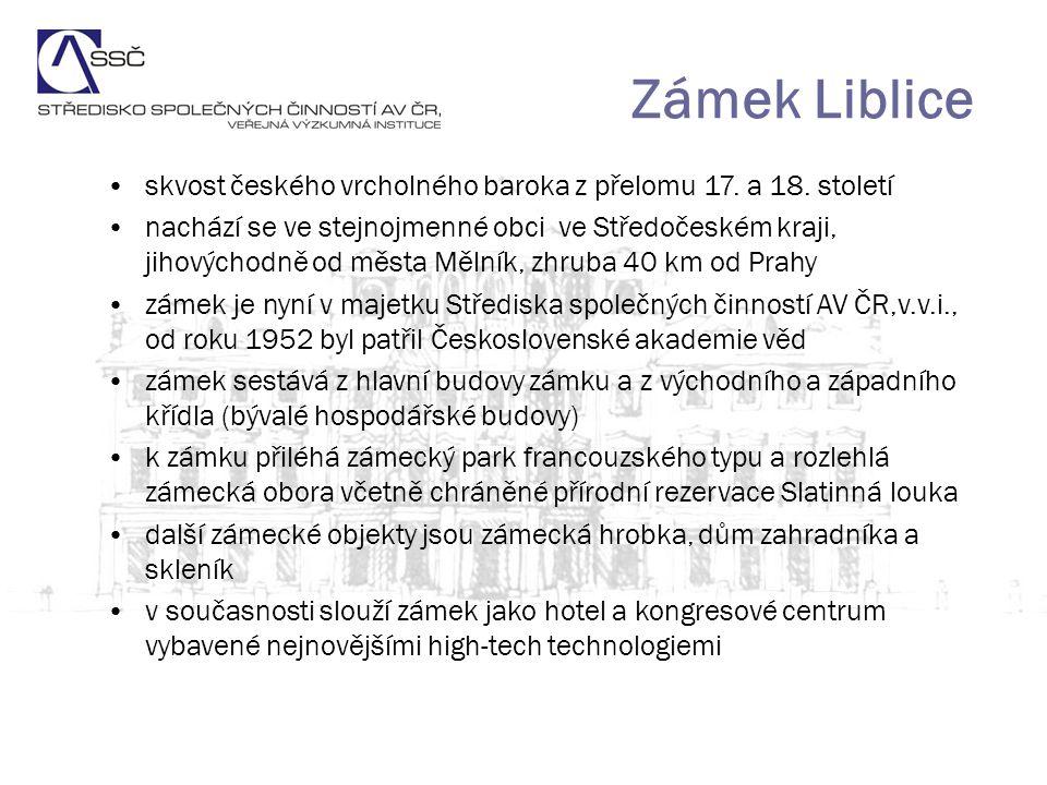 Zámek Liblice skvost českého vrcholného baroka z přelomu 17.
