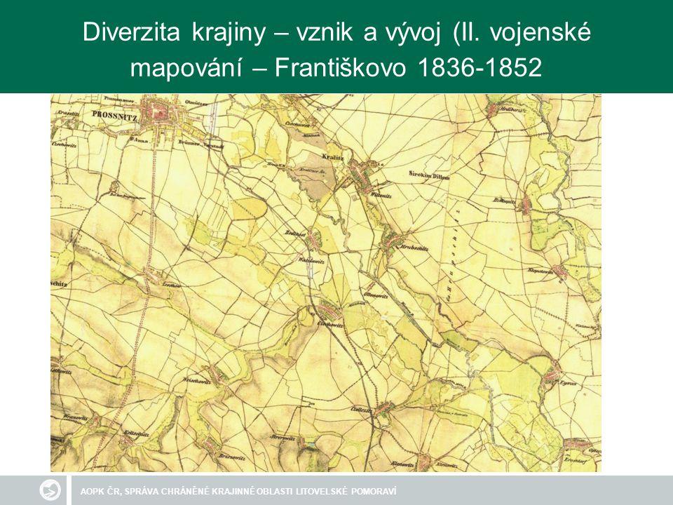 AOPK ČR, SPRÁVA CHRÁNĚNÉ KRAJINNÉ OBLASTI LITOVELSKÉ POMORAVÍ Diverzita krajiny – vznik a vývoj (II. vojenské mapování – Františkovo 1836-1852