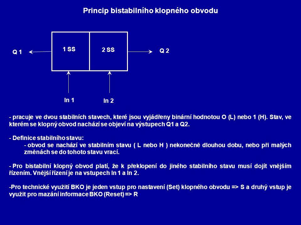 Princip bistabilního klopného obvodu 1 SS 2 SS In 1 In 2 Q 2 Q 1 - pracuje ve dvou stabilních stavech, které jsou vyjádřeny binární hodnotou O (L) neb