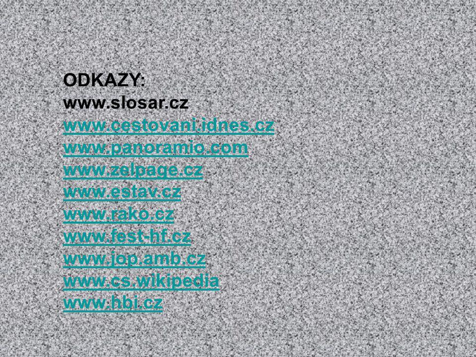ODKAZY: www.slosar.cz www.cestovani.idnes.cz www.panoramio.com www.zelpage.cz www.estav.cz www.rako.cz www.fest-hf.cz www.jop.amb.cz www.cs.wikipedia