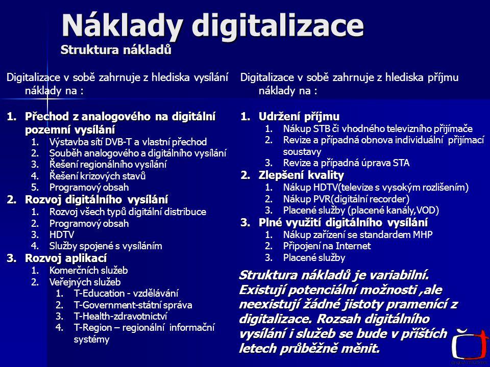 Náklady digitalizace Struktura nákladů Digitalizace v sobě zahrnuje z hlediska vysílání náklady na : 1.Přechod z analogového na digitální pozemní vysílání 1.Výstavba sítí DVB-T a vlastní přechod 2.Souběh analogového a digitálního vysílání 3.Řešení regionálního vysílání 4.Řešení krizových stavů 5.Programový obsah 2.Rozvoj digitálního vysílání 1.Rozvoj všech typů digitální distribuce 2.Programový obsah 3.HDTV 4.Služby spojené s vysíláním 3.Rozvoj aplikací 1.Komerčních služeb 2.Veřejných služeb 1.T-Education - vzdělávání 2.T-Government-státní správa 3.T-Health-zdravotnictví 4.T-Region – regionální informační systémy Digitalizace v sobě zahrnuje z hlediska příjmu náklady na : 1.Udržení příjmu 1.Nákup STB či vhodného televizního přijímače 2.Revize a případná obnova individuální přijímací soustavy 3.Revize a případná úprava STA 2.Zlepšení kvality 1.Nákup HDTV(televize s vysokým rozlišením) 2.Nákup PVR(digitální recorder) 3.Placené služby (placené kanály,VOD) 3.Plné využití digitálního vysílání 1.Nákup zařízení se standardem MHP 2.Připojení na Internet 3.Placené služby Struktura nákladů je variabilní.