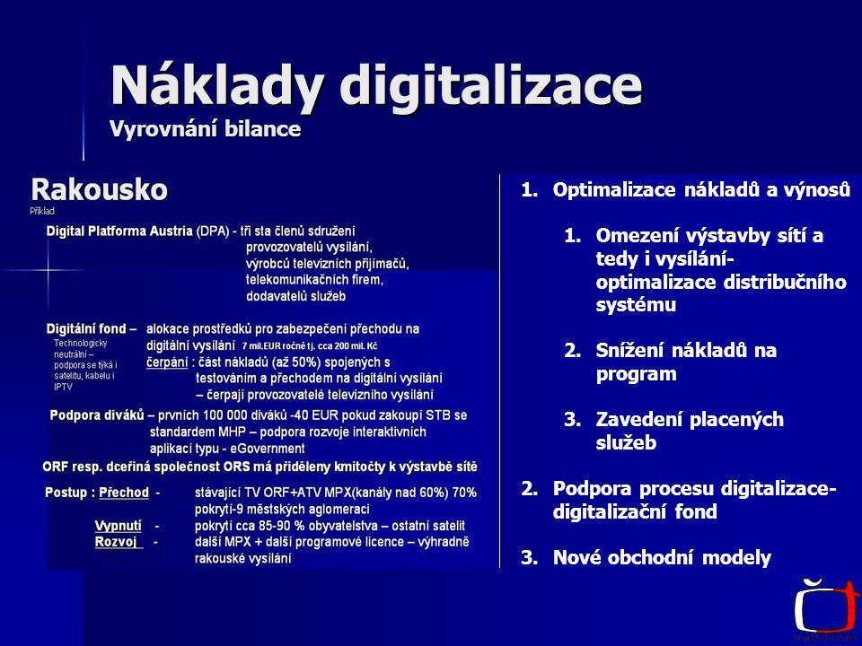 Náklady digitalizace Vyrovnání bilance 1.Optimalizace nákladů a výnosů 1.Omezení výstavby sítí a tedy i vysílání- optimalizace distribučního systému 2.Snížení nákladů na program 3.Zavedení placených služeb 2.Podpora procesu digitalizace- digitalizační fond 3.Nové obchodní modely