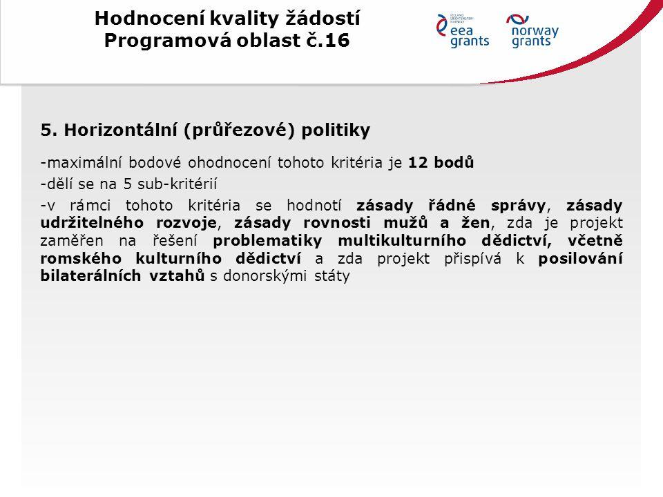 Hodnocení kvality žádostí Programová oblast č.16 5.