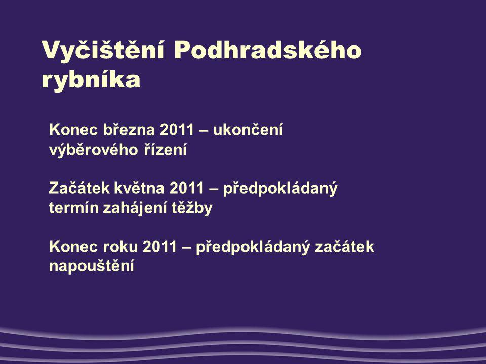 Vyčištění Podhradského rybníka Konec března 2011 – ukončení výběrového řízení Začátek května 2011 – předpokládaný termín zahájení těžby Konec roku 201