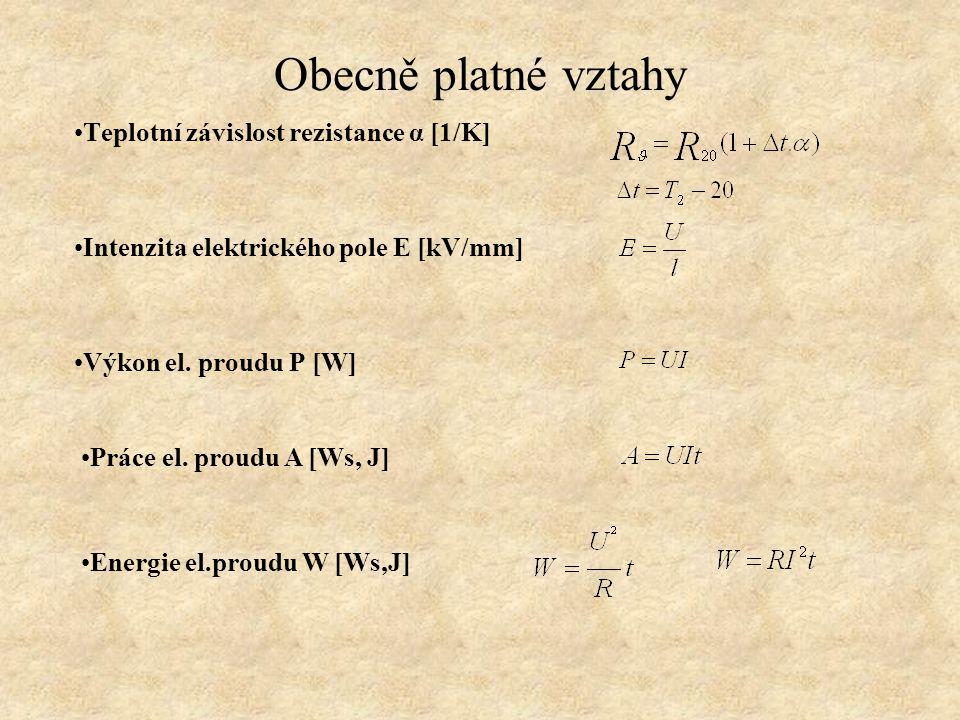 Obecně platné vztahy Teplotní závislost rezistance α [1/K] Intenzita elektrického pole E [kV/mm] Výkon el.