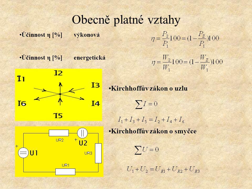 Obecně platné vztahy Zdroj napětí Zdroj proudu Stav naprázdno (R Z = ∞) Stav nakrátko (R Z = 0) Stav naprázdno (R Z = ∞) Stav nakrátko (R Z = 0)