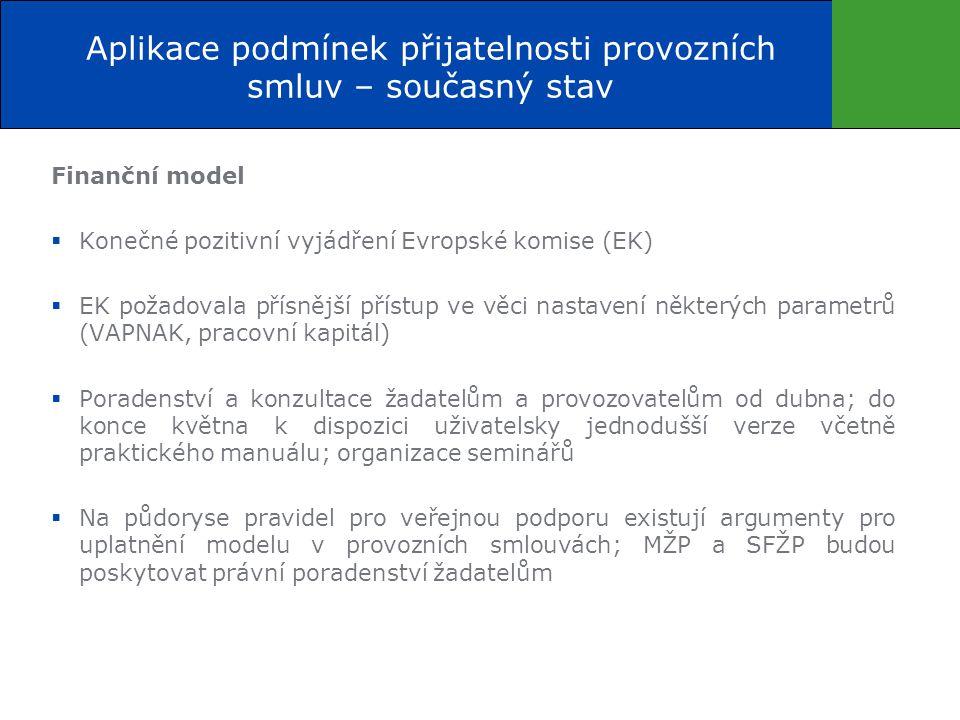 Finanční model  Konečné pozitivní vyjádření Evropské komise (EK)  EK požadovala přísnější přístup ve věci nastavení některých parametrů (VAPNAK, pracovní kapitál)  Poradenství a konzultace žadatelům a provozovatelům od dubna; do konce května k dispozici uživatelsky jednodušší verze včetně praktického manuálu; organizace seminářů  Na půdoryse pravidel pro veřejnou podporu existují argumenty pro uplatnění modelu v provozních smlouvách; MŽP a SFŽP budou poskytovat právní poradenství žadatelům Aplikace podmínek přijatelnosti provozních smluv – současný stav