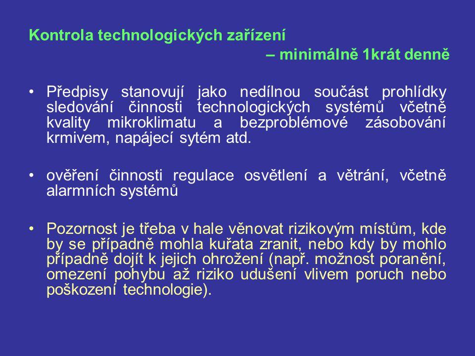 Kontrola technologických zařízení – minimálně 1krát denně Předpisy stanovují jako nedílnou součást prohlídky sledování činnosti technologických systém