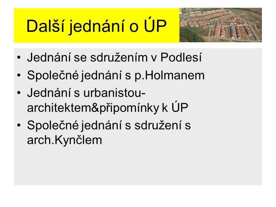Další jednání o ÚP Jednání se sdružením v Podlesí Společné jednání s p.Holmanem Jednání s urbanistou- architektem&připomínky k ÚP Společné jednání s sdružení s arch.Kynčlem