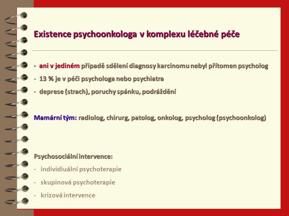 Existence psychoonkologa v komplexu léčebné péče - ani v jediném případě sdělení diagnosy karcinomu nebyl přítomen psycholog - 13 % je v péči psychologa nebo psychiatra - deprese (strach), poruchy spánku, podráždění Mamární tým: radiolog, chirurg, patolog, onkolog, psycholog (psychoonkolog) Psychosociální intervence: - individiuální psychoterapie - skupinová psychoterapie - krizová intervence