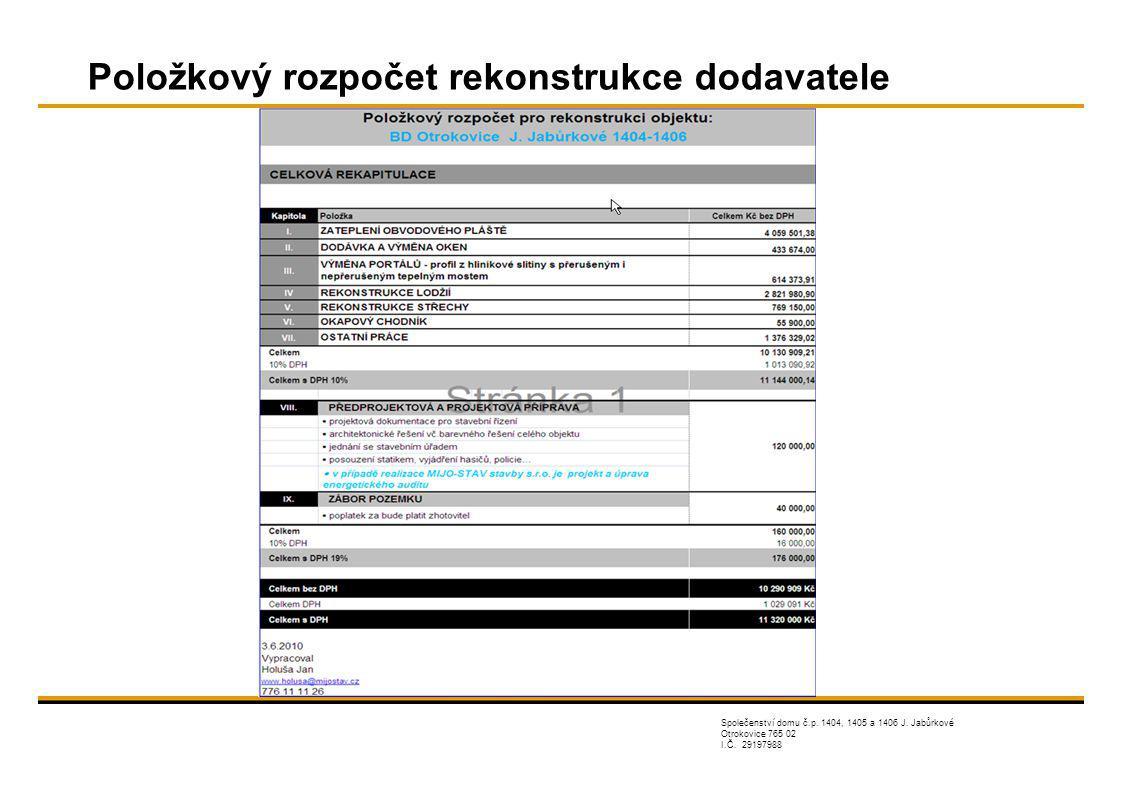 Společenství domu č.p.1404, 1405 a 1406 J. Jabůrkové Otrokovice 765 02 I.Č.