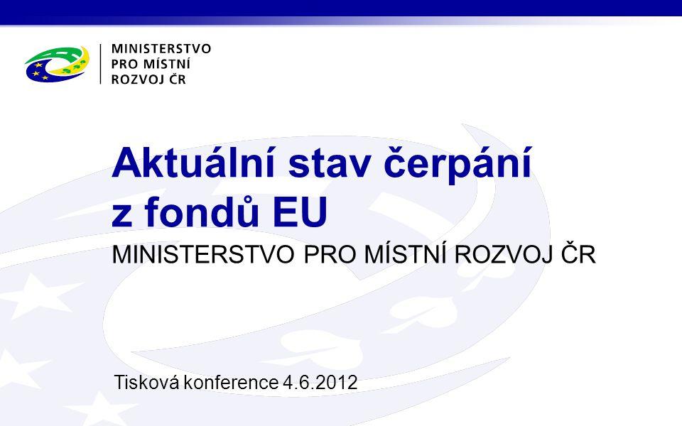 MINISTERSTVO PRO MÍSTNÍ ROZVOJ ČR Tisková konference 4.6.2012 Aktuální stav čerpání z fondů EU